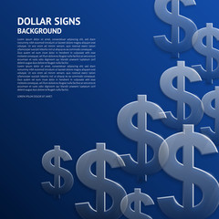 Vector background with glossy, transparent dollar signs.