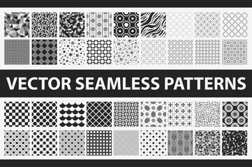 Retro styled vector seamless pattern pack: abstract, vintage, technology and geometric. 36 black and white elements. Vector illustration