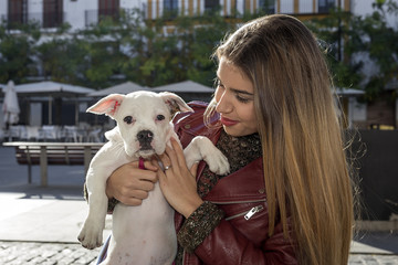 Blond girl with dog