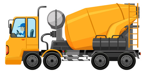 Man driving cement mixer truck