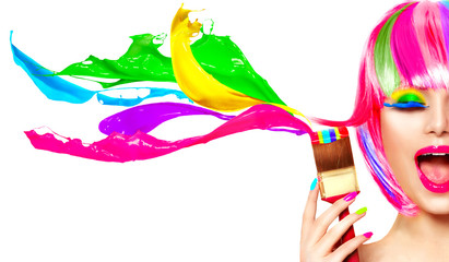 Dyed hair humor concept. Beauty model woman painting her hair in colourful bright colors