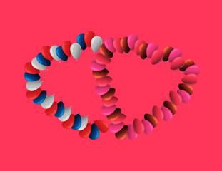 Violet balloons Valentine's Day invitation in heart form on dark background. Vector illustration.