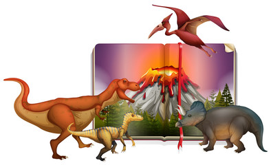 Different types of dinosaurs on the book