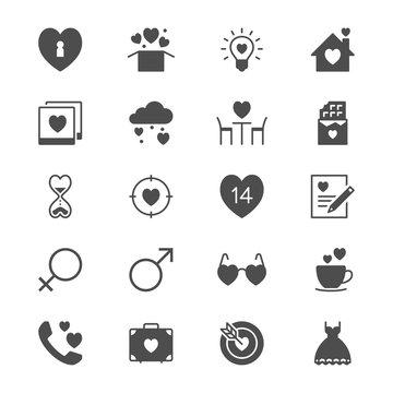 Valentine's day flat icons