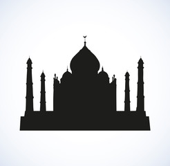 Taj Mahal in India. Vector sketch