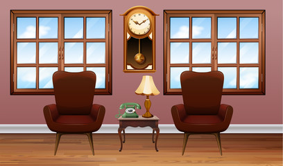 Room with two brown armchairs