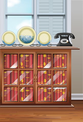 Room with bookshelves and vintage telephone