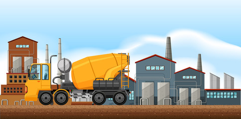 Factory scene with cement mixer