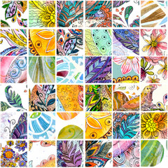 seamless texture with floral patchwork pattern. watercolor paint