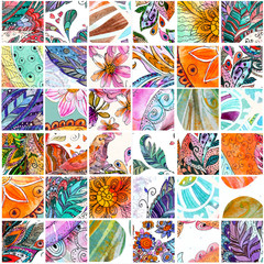 seamless texture with abstract patchwork pattern. watercolor pai