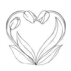 vector monochrome contour illustration of tulip flower heart