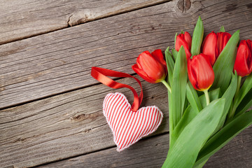 Red tulips and Valentine's day heart