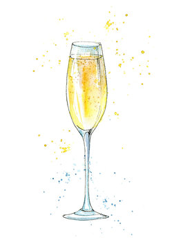 Glass of a champagne.Picture of a alcoholic drink.Watercolor hand drawn illustration.