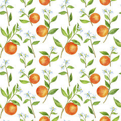 seamless pattern with fruit tree branches with flowers, leaves and oranges