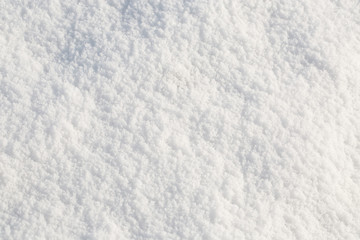 Top view of snow texture, background with copy space