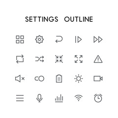 Settings outline icon set - menu, pinion, next, reload, zoom, attention, mute, switch, battery, video, microphone, wi fi, clock and others simple vector symbols. Internet and technology signs.