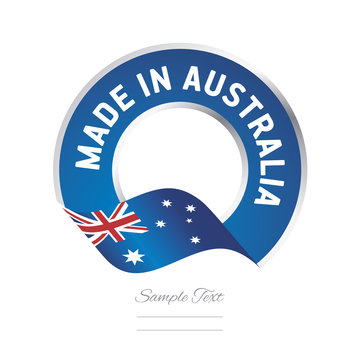Made in Australia flag blue color label button banner