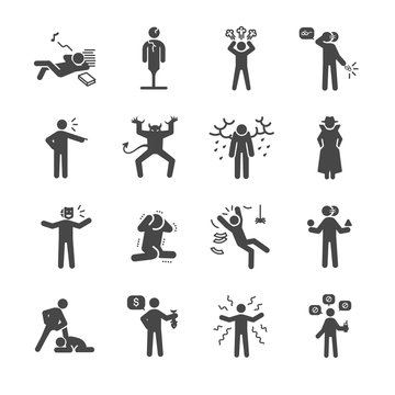 Bad personality and character icons set