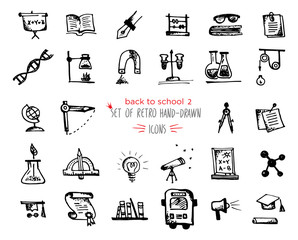 Hand-drawn sketch school tools icon set Black on white background
