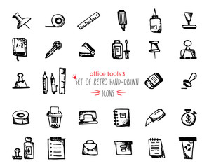 Hand-drawn sketch office tools icon set Black on white background