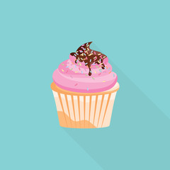 Cute and bright cupcake vector illustrator for banner. Delicious Sweets, Dessert flat style
