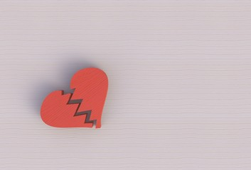 Tear on broken heart on wooden background, 3D rendering
