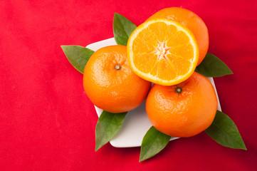celebrate Chinese New Year background with orange fruit.