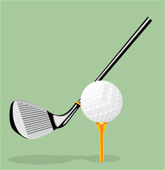 Vector realistic illustration. Golf club and golf ball. Golf putter.
