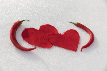 Two hearts and two chili peppers in the snow
