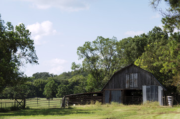 Old barn near gate that leads into pasture