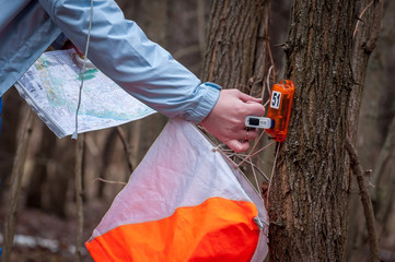 Orienteering. Chip system to mark a checkpoint. Man marks the checkpoint with the chip.