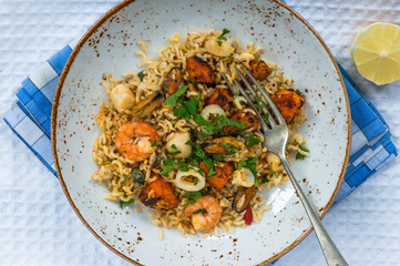 Seafood pilaf or risotto
