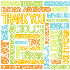 cloud of the words thank you in different languages