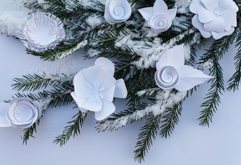 paper flowers on the snow tree