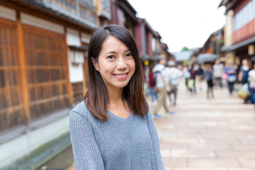 Asiann young woman in Japanese old town