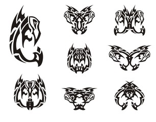 Peaked eagle symbols in tribal style. Black and white eagle stylization and double symbols formed from him