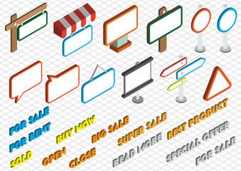 illustration of info graphic sale icons set concept in isometric 3d graphic