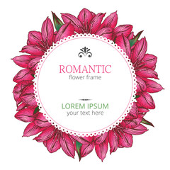 Flower round frame. Botanical raster illustration. Bright alstroemeria. Flower wreath isolated on white background