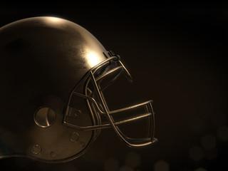 golden football helmet with dark background.3D rendering