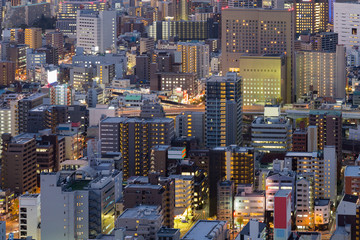 City office building night view, close up, Osaka Japan