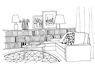 Hand drawn sketch of modern living room interior with a sofa, pillows, small coffee table, bookshelf with a lot of books, lamps, pictures and a vase.