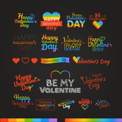 Happy valentines day wishes colorful logo set. Valentines vector
