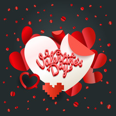 Happy valentines day wishes greeting card layout. Valentines vec