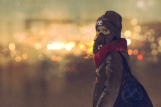 outdoor portrait of young woman with gas mask in winter with bokeh light on background,illustration painting