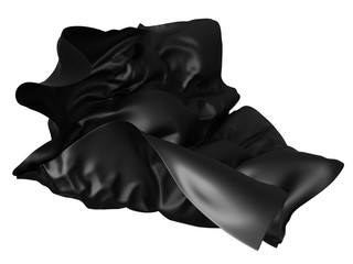 Black satin fabric flying in the wind