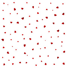Valentines petals falling on white background