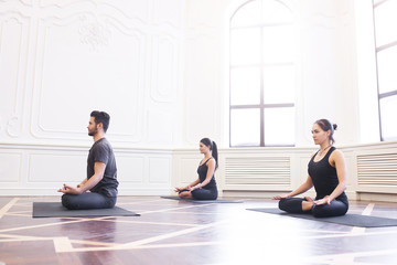 Group of young people doing yoga in the class