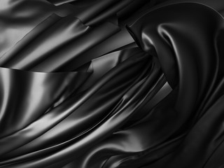 Black silk drapery chaotic waves background