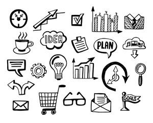 Business doodles icons set