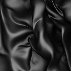 Abstract Black Silk Satin Cloth Background